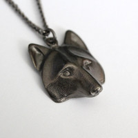 Wolf Mask Pendant Necklace - Black Gunmetal