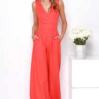 Wide Stride Coral Red Jumpsuit