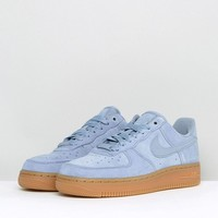 Nike Air Force 1 '07 Trainers In Glacier Blue Suede With Gum Sole at asos.com