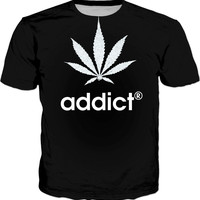 420 men fit black t-shirt, addict® and weed leaf ;) marihujana themed black and white