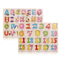 Wooden Toys Learning Journey Lift and Learn Toys Number and Letter Sliding Puzzle for Child Kids