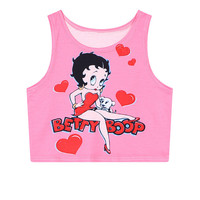 Print Summer Sleeveless Heart Tank Top = 4824045188