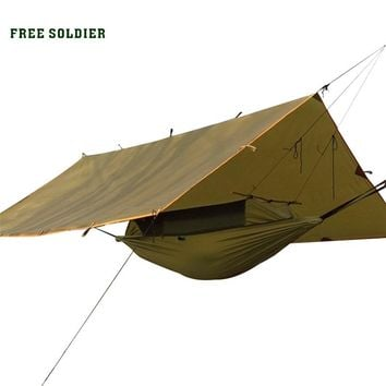 FREE SOLDIER outdoor portable hammock wear-resisting large tent and awning Multi-function mat folding PU instant waterproof
