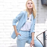 Plain Notched Long-Sleeve Button Blazer With Pockets