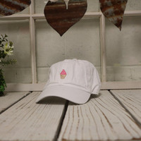 STRAWBERRY ICE CREAM Baseball Hat Low Profile Embroidered Baseball Caps Dad Hats White