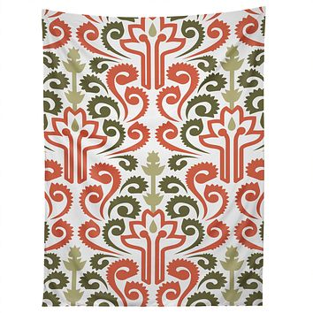 Raven Jumpo Coral Damask Tapestry