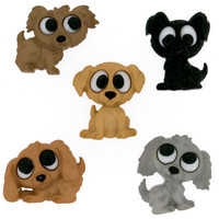 Playing Puppies Plastic  Buttons / Sewing supplies / DIY craft supplies / Novelty Buttons / Party Supplies