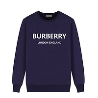 BURBERRY Fashion Women Men Casual Letter Print Long Sleeve Sweater Sweatshirt Blue
