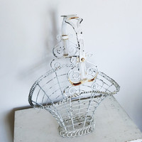 Vintage Victorian White Painted Rustic Wire Basket for Indoor or Outdoor Home Decor Storage Display or Prop