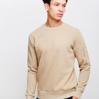 The Idle Man Crew Neck Sweatshirt With Sleeve Pocket Off White
