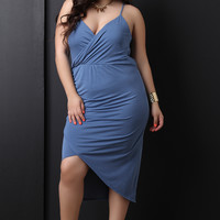 Sleeveless Surplice V-Neck Cowl Back Dress