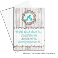 Neutral baby shower invite - woodland baby shower - gender neutral shower - rustic wood - printable or printed - WLP00719