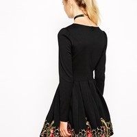 Nishe Skater Dress With Baroque Hem Embroidery