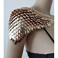 New Fashion Scalemail Mermaid Gold Fish Scales Shoulder Chains Layers Scale Chainmail Gold Single Fish Scale Shoulder Jewelry