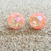 SALE Peach Gold Leaf Faceted Earrings Stud Earrings 11.5 MM Boho Jewelry Bridesmaids Gifts