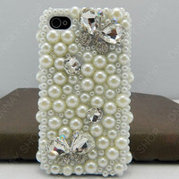 NEW iphone 5 case Pearl  Butterfly full pearl iphone 4 case iphone 4s case 3D iphone 5 cases