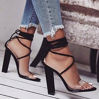 Hot Sale Women Sexy High-Heel Strapping Large-Size Sandals High-Heeled Shoes Black