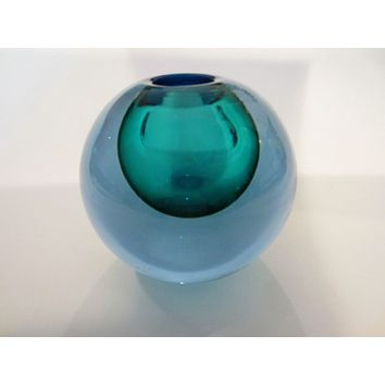 Spherical Sea Green Blue Glass Sommerso Murano Vase Candle Holder