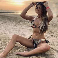 New swimsuit snake print sexy halter bikini metal accessories swimsuit