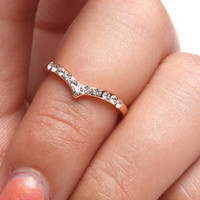 Chevron Knuckle Ring w/stones by DRJ Accessories Shoppe
