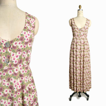 Vintage 90s Floral Sundress in Pink & White Daisy Print / Floral Maxi Dress / Gerbra Daisies - women's medium
