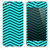 The Turquoise Chevron Wide Format V4 Pattern Skin for the iPhone 3, 4-4s, 5-5s or 5c