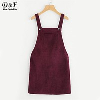 Dotfashion Bib Pocket Front Overall Dress 2017 Burgundy Square Neck Pinafore Cute Shift Dress Sleeveless Short Dress