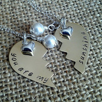 You are my sunshine necklace-Broken Heart Necklace with Swarovski Pearls and Heart Charm