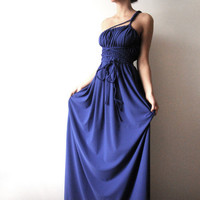 Cobalt Love grecian Convertible dress with braided by WhimsyTime