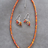 Handmade Orange Sizzle Glass Beaded Pendant and Earring Set, Fashion Jewelry, Ladies Gift, Statement Jewelry, Unique Style, Simple Elegance