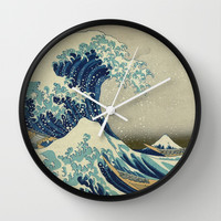 The Great Wave off Kanagawa Wall Clock by TilenHrovatic