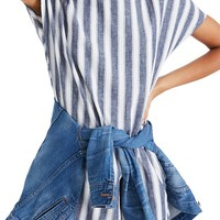 Madewell Stripe Play Button Back Dress   Nordstrom