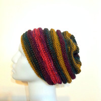 Multicolor Knit Slouchy Hat - Chunky Beanie - Oversize Beret - Christmas Gift - Fall Winter Fashion - Women Teens Accessories