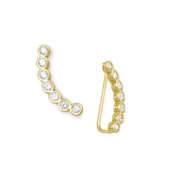 14k Gold Plated Sterling Silver CZ Ear Climber Earrings