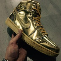 Nike Air Jordan 1 Retro Gold Basketball Sneaker