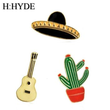 Trendy H:HYDE Cactus Potted Guitar Hat Brooch For Friends Women Men Denim Jacket Collar Badge Pins Buckle Fashion enamel Jewelry AT_94_13
