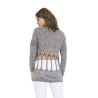 Womens Long Sleeve Grey Zoe Pullover Sweater By One Grey Day