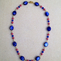 Raspberry & Blue Glass Beaded Necklace