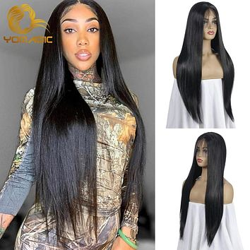Yomagic  Black Color Synthetic Hair Lace Front Wigs with Baby Hair