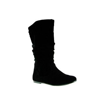 Girls Delta Calf High Ruched Zipped Round Toe Boots