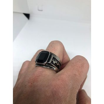 Vintage Gothic Black Onyx Dragon stainless steel Mens Ring