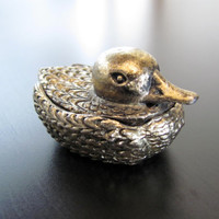 Vintage Brass/Gold Tone Duck Trinket Box - German Miniature