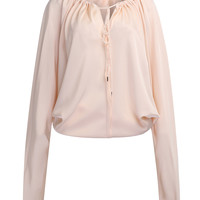 Pink Tied Keyhole Front Ruched Detail Satin Blouse