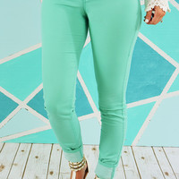 Down The Boulevard Jeans: Spearmint