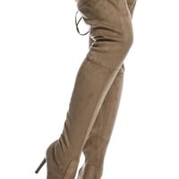 Taupe Faux Suede Thigh High Pointed Toe Boots @ Cicihot Boots Catalog:women's winter boots,leather thigh high boots,black platform knee high boots,over the knee boots,Go Go boots,cowgirl boots,gladiator boots,womens dress boots,skirt boots.