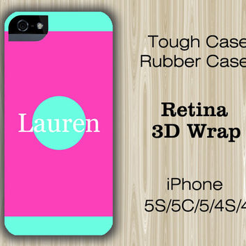 Simple Pink Teal Monogram iPhone 6/5S/5C/5/4S/4 Case
