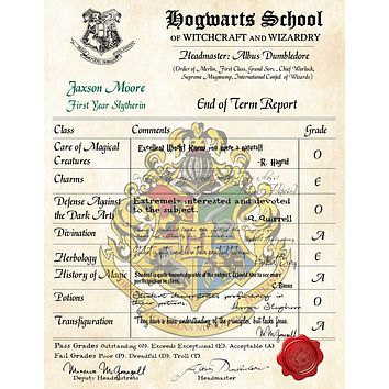 Slytherin Personalized Harry Potter Report Card - Hogwarts School of Witchcraft and Wizardry