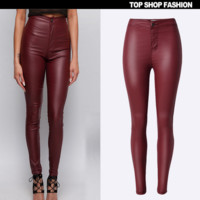 Fashion High imitation leather pants show thin waist and feet outside the locomotive wine red dress