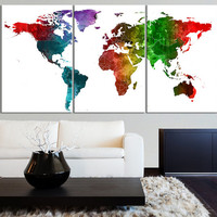 Canvas Print Watercolor World Map Canvas - Contemporary 3 Panel Triptych Watercolor Pink Splatter World Map Canvas Art Large Wall Art