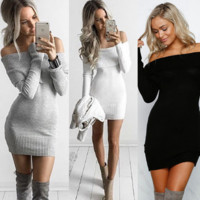 Elegant White Stretchy Knitted Casual Dress Women Evening Party Sexy Bodycon Dress Girls Autumn Short Mini